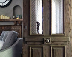 European Style Entry Door in Sandblasted Red Oak Wood, Architectural Window Mesh eclectic-windows-and-doors
