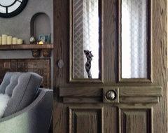 European Style Entry Door in Sandblasted Red Oak Wood, Architectural Window Mesh rustic-front-doors
