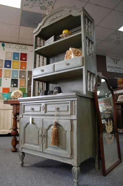 Painted hutch in cece caldwell smoky mountain gray china for Cece caldwell kitchen cabinets