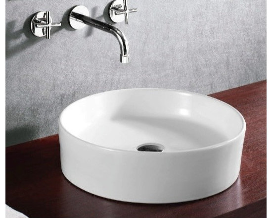 "Caracalla - Stylish Contemporary White Ceramic Circular Vessel Sink - Designed in Italy by Caracalla. Circular modern above counter vessel sink made of high quality white ceramic. Washbasin comes without overflow and has no sink hole. Sink dimensions: 17.72"" (width), 5.51"" (height), 17.72"" (depth)"