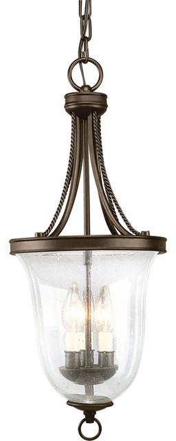 Progress Lighting P3753-20 3-Light Foyer with Clear Seeded Glass transitional-pendant-lighting