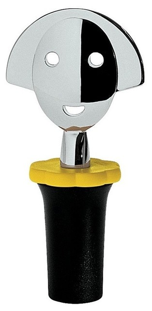 """Alessi """"Anna Stop 2"""" Bottle Stopper, Black contemporary-wine-and-bar-tools"""