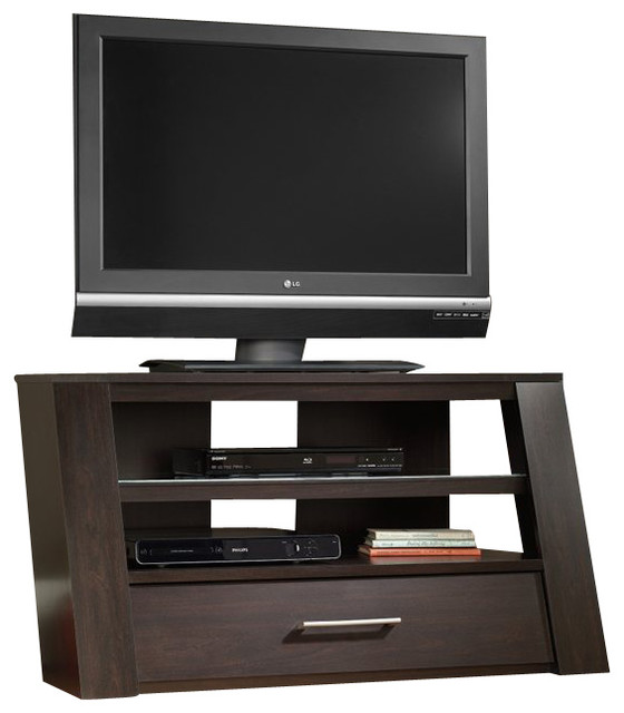Sauder TV Stand With Optional Mount in Jamocha Wood - Transitional - Entertainment Centers And ...