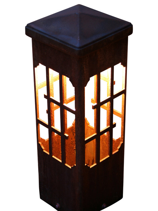 """Attraction Lights - Bollard light-Lantern-Decorative steel light fixture, 19"""" - The 6 x 6 Bollard light is 42""""  tall and is perfect for illuminating steps and entryways and it also makes a great piece of functional steel art or sculpture for your back yard by the patio or within perennial flower beds.  If your tired of the same old boring path lights and are ready for something unique and different,  these sculptural steel pieces really make a statement.  Anchored on a concrete footing, not even the biggest dog will not knock them over.  Standard 12 volt lighting that can be modified to 120 volt. The lights come standard with a 2700k (warm white color) LED light bulb.  This particular pattern is from our Lantern series and is perfect for nautical and woodsy settings."""