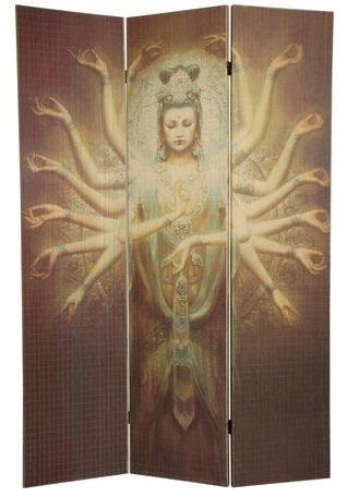 6 ft. Tall Thousand Arm Kwan Yin Bamboo Room Divider asian-screens-and-room-dividers