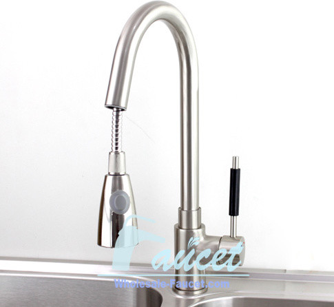 brushed nickel pull out faucet kitchen mixer tap modern