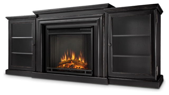 Blackwash Frederick Electric Fireplace & Entertainment Unit transitional-indoor-fireplaces