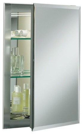 "Single Door 16"" x 20"" Aluminum Medicine Cabinet with Square Mirrored Door modern-medicine-cabinets"