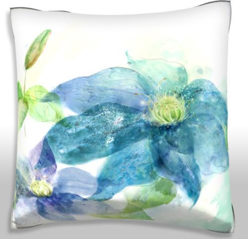Modern Lotus Pillow : Blue Lotus Flower Pillow. Polyester Velour Throw Pillow - Modern - Decorative Pillows - by ...