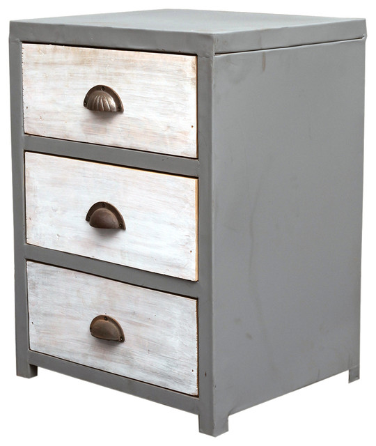 Industrial 3 Drawer Grey amp White Reclaimed Wood Iron