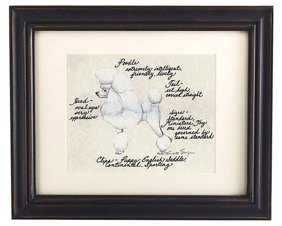 Ballard Designs - Poodle Show Cut White Dog Print - Printed on antiqued parchment. Eggshell mat. Black wood frame. Glass front. Our White Show-Cut Poodle Dog Print was created by the dog-devoted, husband and wife team of Vivienne and Sponge. The Poodle is known for being extremely intelligent, friendly and lively. Each portrait is signed by the artists, hand colored and embellished with notes on the breed's special characteristics. White Show-Cut Poodle Dog Print features:. . . . *Please note that personalized items are non-returnable.