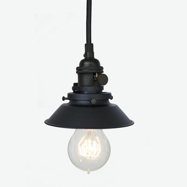 Industrial Cone Shade Rustic Pipe Pendant Light – Matte Black Farmhouse P
