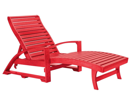 C.R. Plastic Products - C.R. Plastics St. Tropez Chaise Lounge with Wheels in Red - Can be used for residential or commercial use, Ergonomically designed, Heavy 78 gauge plastic lumber 12 used by competitors, All stainless steel hardware, No painting, No slivers, No Rot, Completely waterproof