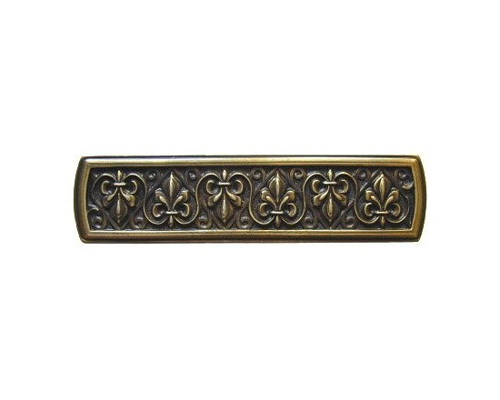 """Inviting Home - Fleur-de-Lis Pull (antique brass) - Hand-cast Fleur-de-Lis Pull in antique brass finish; 3-7/8""""W x 1""""H; Product Specification: Made in the USA. Fine-art foundry hand-pours and hand finished hardware knobs and pulls using Old World methods. Lifetime guaranteed against flaws in craftsmanship. Exceptional clarity of details and depth of relief. All knobs and pulls are hand cast from solid fine pewter or solid bronze. The term antique refers to special methods of treating metal so there is contrast between relief and recessed areas. Knobs and Pulls are lacquered to protect the finish. Detailed Description: The Fleur-de-lis means """"flower of the lily"""" It was used to represent French royalty. It was said that the king of France Clovis who started using the symbol of the Fleur-de-lis because the water lilies helped guide him to safety and aided him in winning a battle. The design in the Fleur-de-Lis pulls is arranged in alternating positions of the Fleur-de-lis. These pulls are a great match for the Fleur-de-lis knobs which have the Fleur-de-lis pattern arranged in a circle. The different shapes of decorative hardware make the cabinet doors and drawers interesting to look at."""