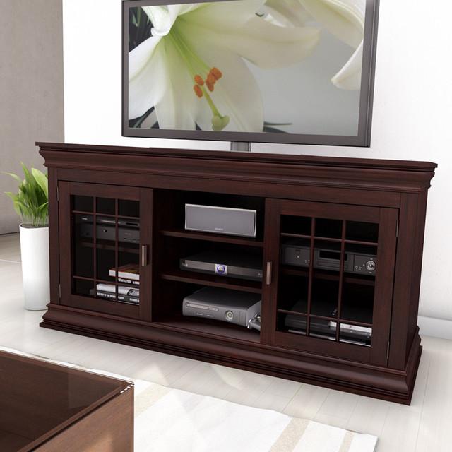 sonax carson dark espresso 60 inch wood veneer tv component bench contemporary. Black Bedroom Furniture Sets. Home Design Ideas