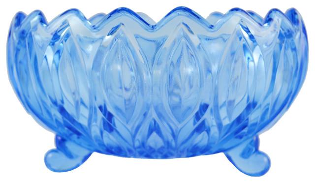 Consigned Pressed Blue Glass Flower Shaped Serving Salad