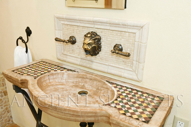 Reclaimed Stone Sink : Antique reclaimed Inlayed Marble and Stone Sink for Master Bathrooms ...