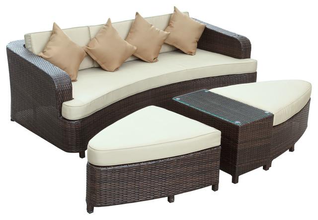 Monterey Outdoor Patio Sofa Set in Brown Tan modern-outdoor-sofas
