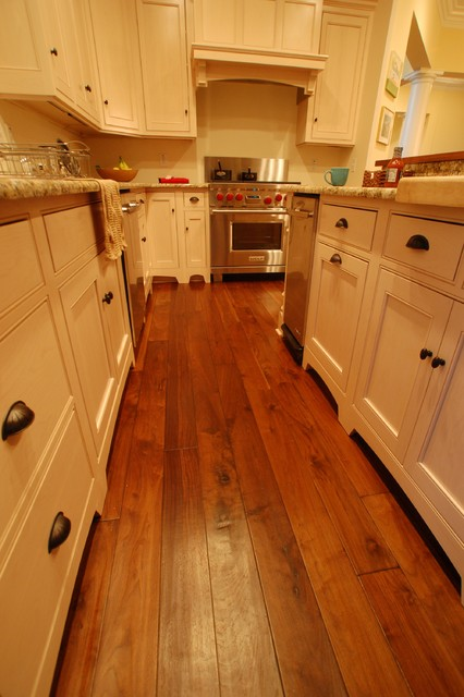 French Country Walnut, Footworn Texture with French Bleed, Walnut Hull Tea Stain traditional wood flooring