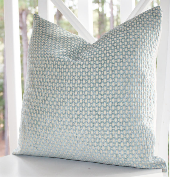 Green-blue Geometric Pillow Cover by Motif Pillows - contemporary