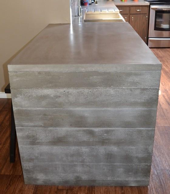 Plank Form Concrete Waterfall Countertop contemporary-kitchen-countertops
