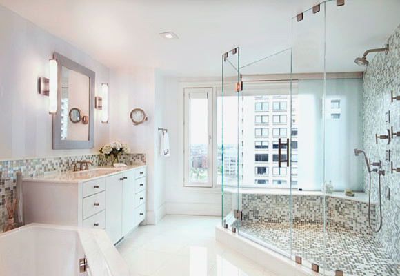 An All White Bathroom By Leslie Fine Interiors