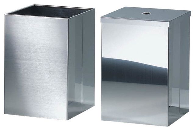 Harmony waste basket with cover in polished stainless for Covered bathroom wastebasket
