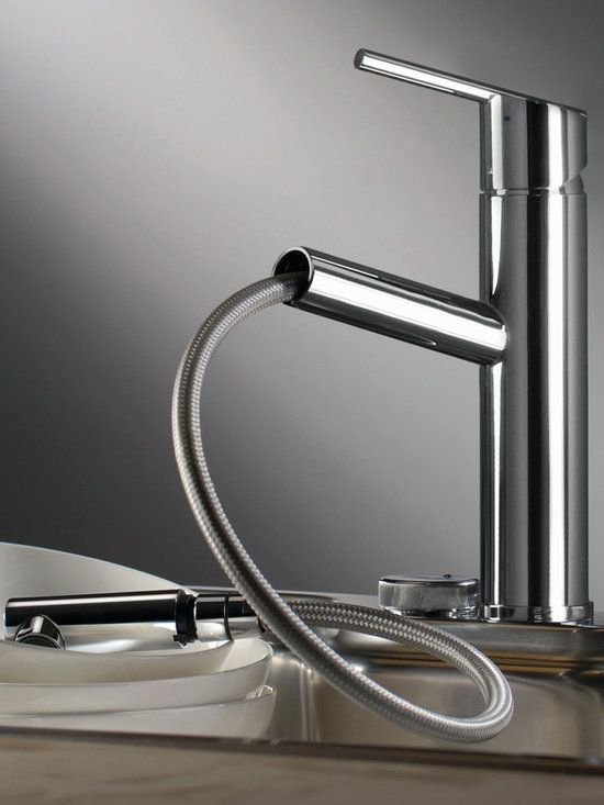 Trento kitchen faucet from Webert - The Trento faucet, featuring a direct spout, single lever handle, bestows a timeless presence in the kitchen space. Its smooth handling of the lever is essential to ensure a precise adjustment of water flow or temperature. The faucet, as shown, comes in chrome with a pull-out spray. Check the website for pricing on black granite finish or chrome without the spray feature.