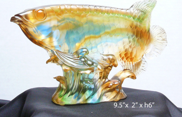 Chinese Liuli Crystal Glass Pate-de-verre Koi Fish FengShui Figure contemporary-moulding