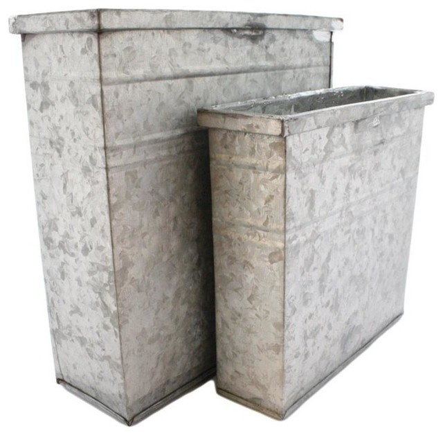 Galvanized Rectangle Container Set Of 2 Industrial