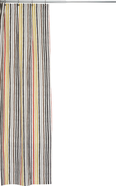 Extra Long Multi Colored Stripe Linen Fabric Shower Curtain Ithica Fabric Transitional