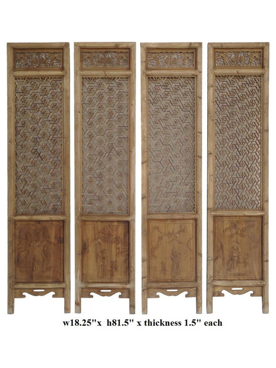 Set of 4 Pieces Geometric Flower 2 Sides Door Panel - This is a simple decorative room divider or screen with natural wood finish with natural wood pattern. Each one has different result after age and usage. The center theme is clean geometric star flower formation see through open pattern. The bottom is solid panel with variety of pattern on each side.