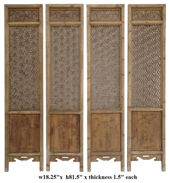 Set of 4 Pieces Geometric Flower 2 Sides Door Panel - asian ...