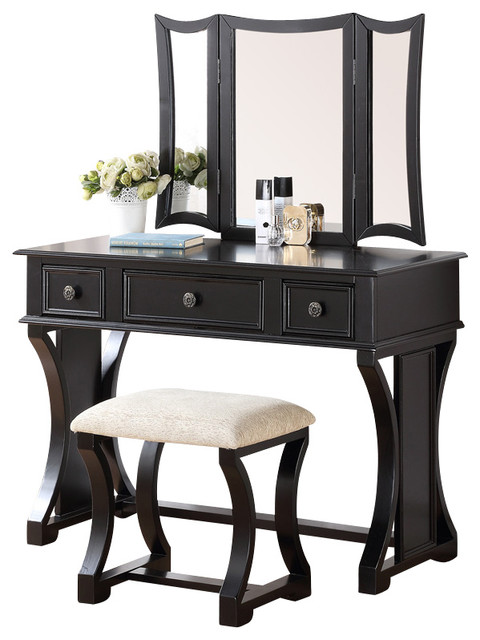 Curved Design 3-Panel Mirror Vanity With Stool & Drawer