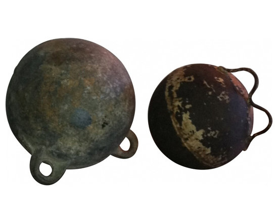 Deep sea metal floats - Offered is a great pair of  deep sea floats. These are very cool nautical accent pieces with desirable time worn aged patina.