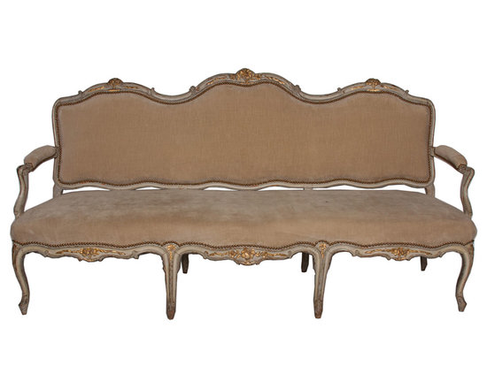 Antique French Sette - Antique Condition from France.  A Beautiful 20 Century. French Sette. Beautful Details,tan and ivory with scalloped wood.