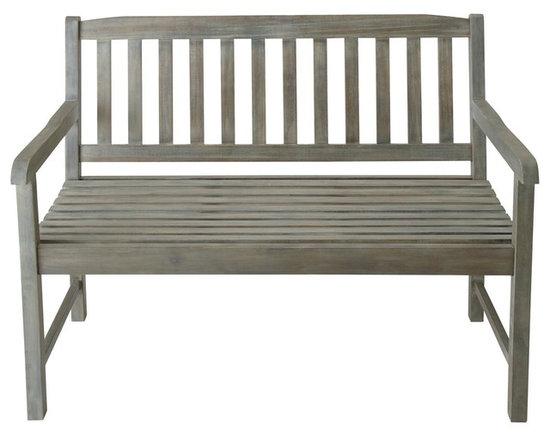 Grey wood garden bench seat Saint-Malo -