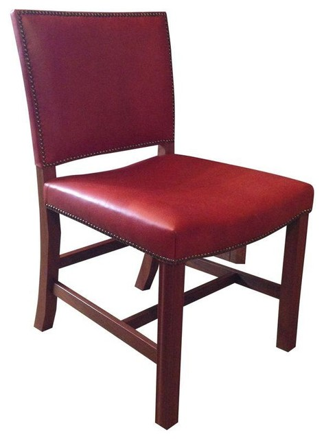 Pre Owned Red Leather Chair With Nailhead Trim