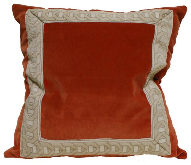 Decorative Pillows Raleigh Nc : Orange Velvet Trim Pillow - Eclectic - Decorative Pillows - raleigh - by Eatman s Carpets ...