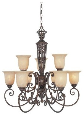 Designers Fountain 97589 Amherst 9 Light Chandelier in Burnt Umber Finish modern-chandeliers