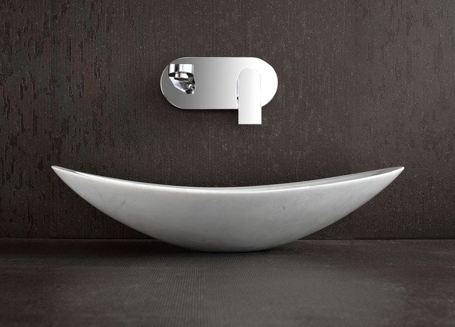 Stone Basin Bathroom : - White Marble Above Counter Stone Basin - Modern - Bathroom Basins ...