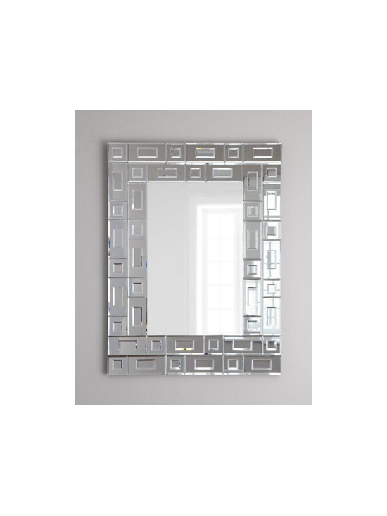 """Horchow - Vance Geometric Wall Mirror - Wall mirror is bordered by a geometric """"boxes within boxes"""" frame composed of smaller mirrors with beveled edges for added depth. Made of resin and mirrored glass. 28""""W x 37""""T. Imported. Boxed weight, approximately 36 lbs. Please note that this it..."""