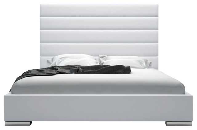 Prince Bed, White Leather, Queen modern