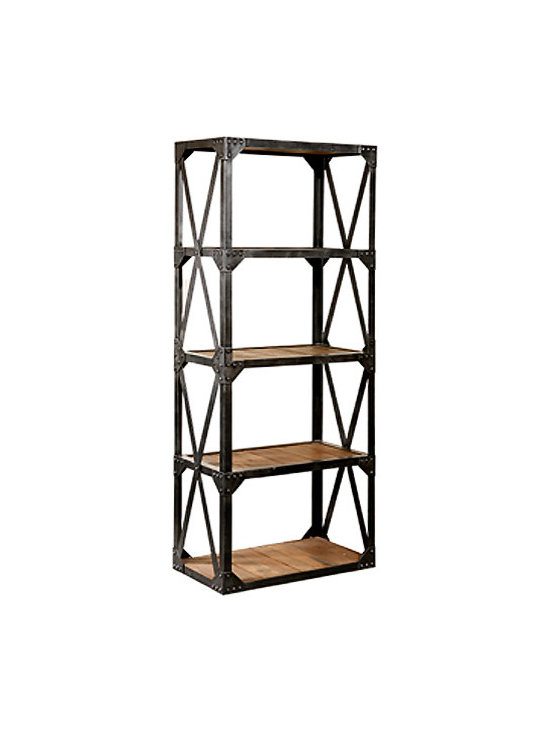 Metal and Wood Bookcase -