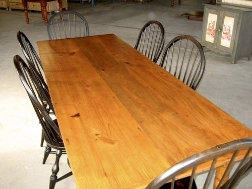 Reclaimed Wood Table In Golden Brown Finish farmhouse-dining-tables