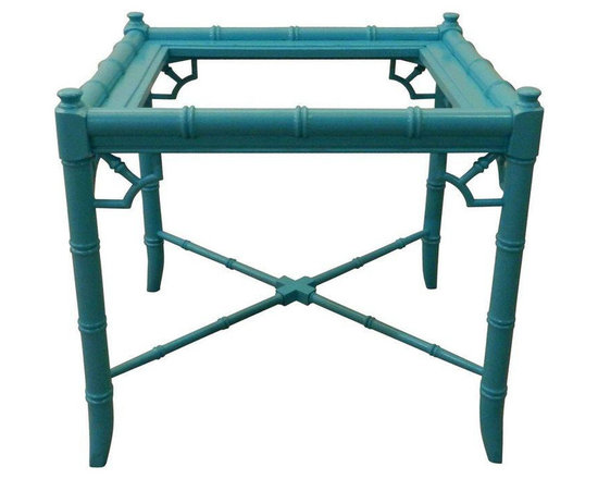 Vintage Turquoise Faux Bamboo End Table -