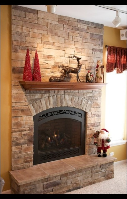 Stone fireplaces and wood mantels - Stone and wood fireplace ...