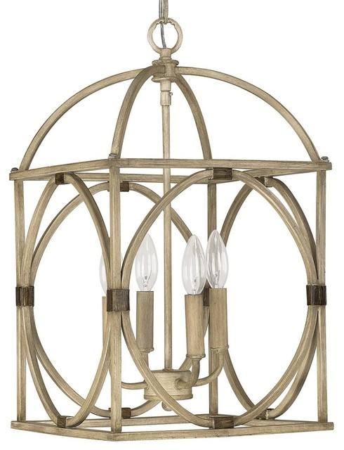 Wood Circle Lattice Hanging Lantern