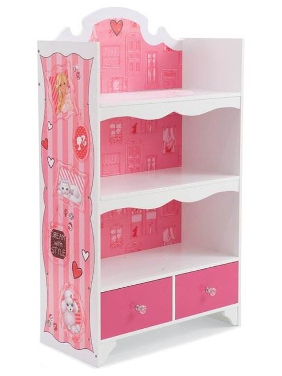 Kids Furniture - Chic, yet adorable, the Barbie Glam Bookcase will be the highlight of any little girl's room. With cityscape artwork, scalloped woodwork and plenty of space for toys, books and more, this is the must have for any Barbie fan!