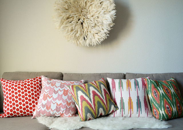 Red, Pink, and Green Boho Pillows eclectic-living-room